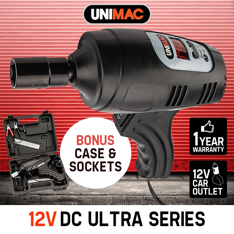 "UNIMAC 12V Impact Wrench Rattle Gun - Wheel Nut Remover 1/2"" Electric Car Volt by Unimac"