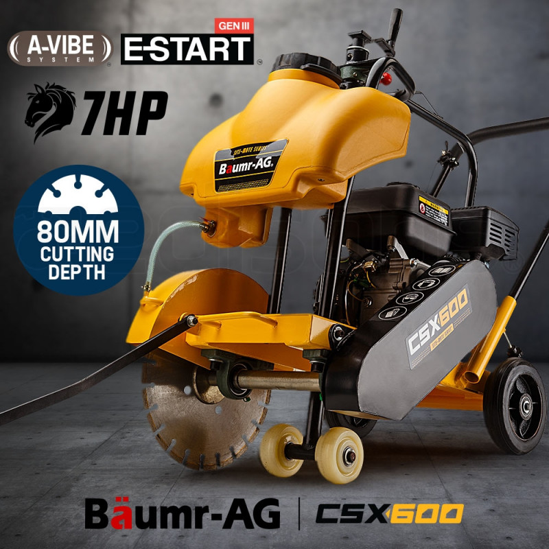Baumr-AG Concrete Road Saw - Cutter Tools Push Construction Petrol 7HP Wet by Baumr-AG