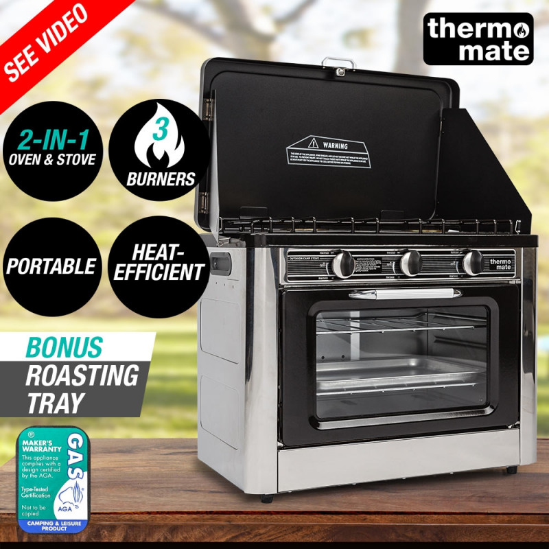 THERMOMATE 3 Burner Portable Camping Oven Cooking LPG Gas Stove Stainless Steel by Thermomate
