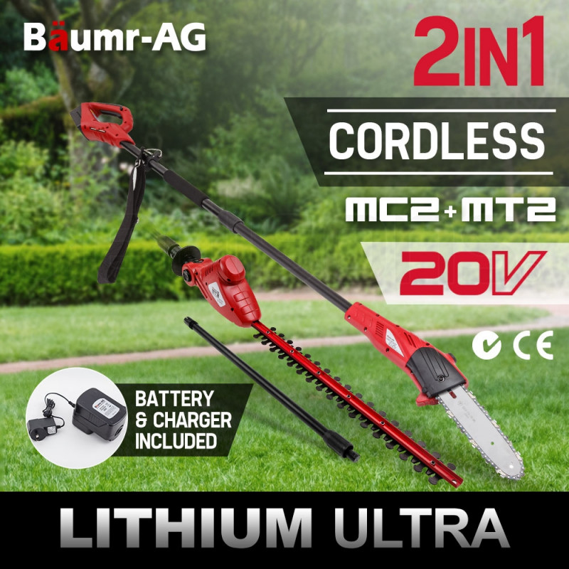 Baumr-AG 20V Lithium Pole Chainsaw Hedge Trimmer Battery Electric Cordless Saw by Baumr-AG