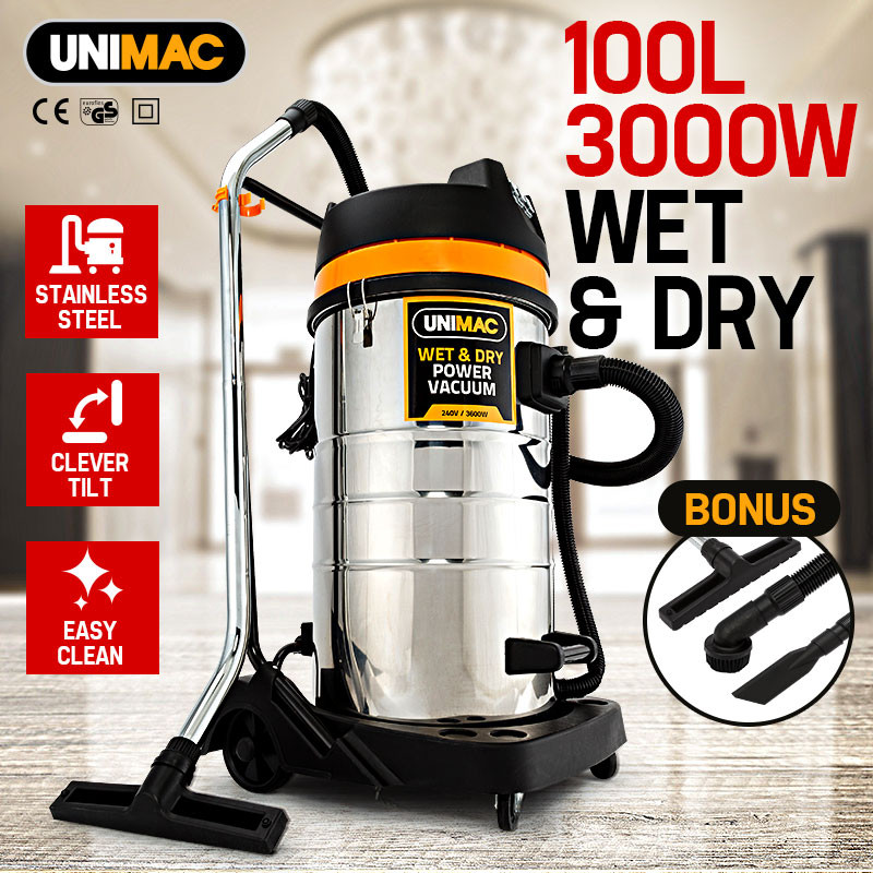 UNIMAC 100L Wet and Dry Vacuum Cleaner Bagless Commercial Grade Drywall Vac by Unimac