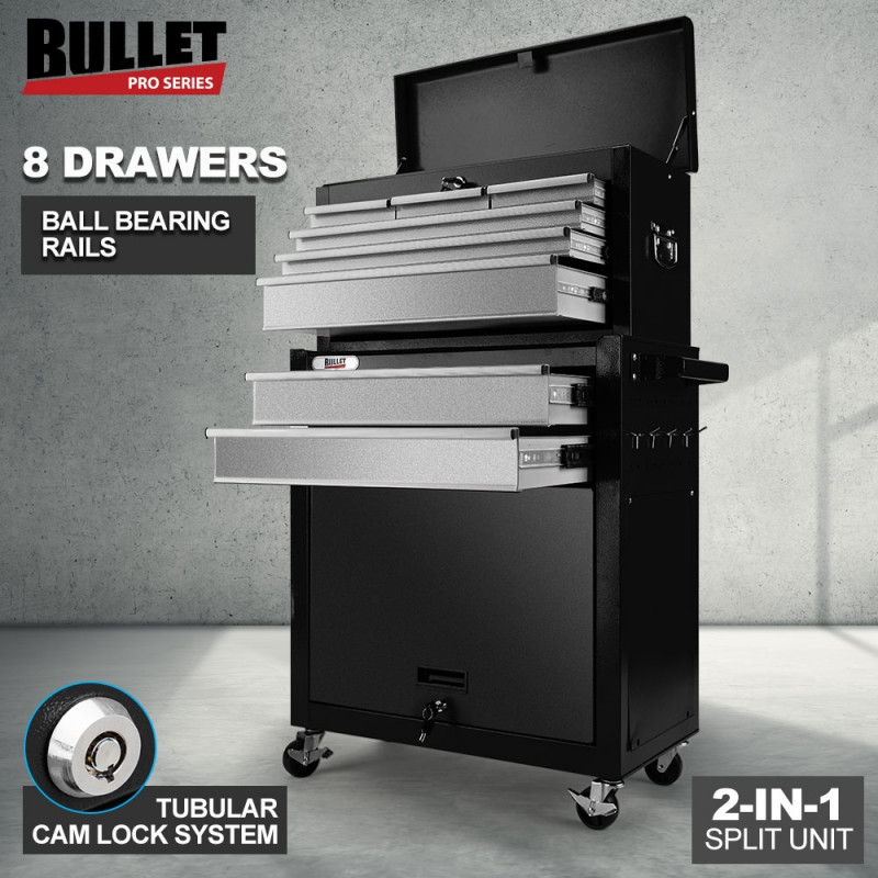 BULLET 8 Drawer Tool Box Cabinet Chest Storage Toolbox Garage Organiser Set Black and Silver by Bullet Pro