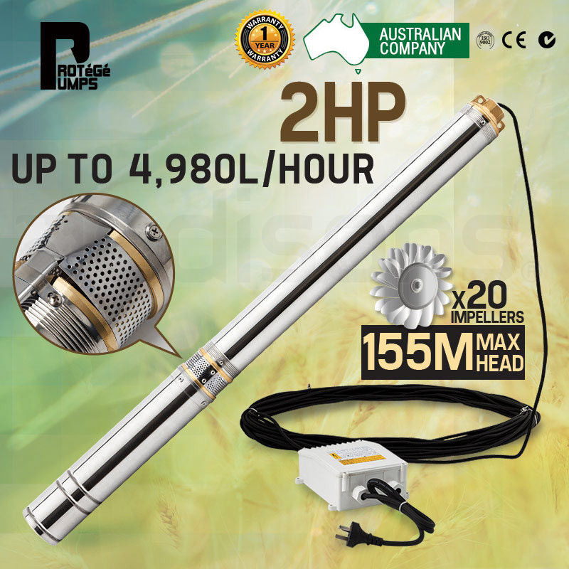 2HP Submersible Bore Water Pump Well Irrigation Stainless Steel 240V Deep NEW by Protege