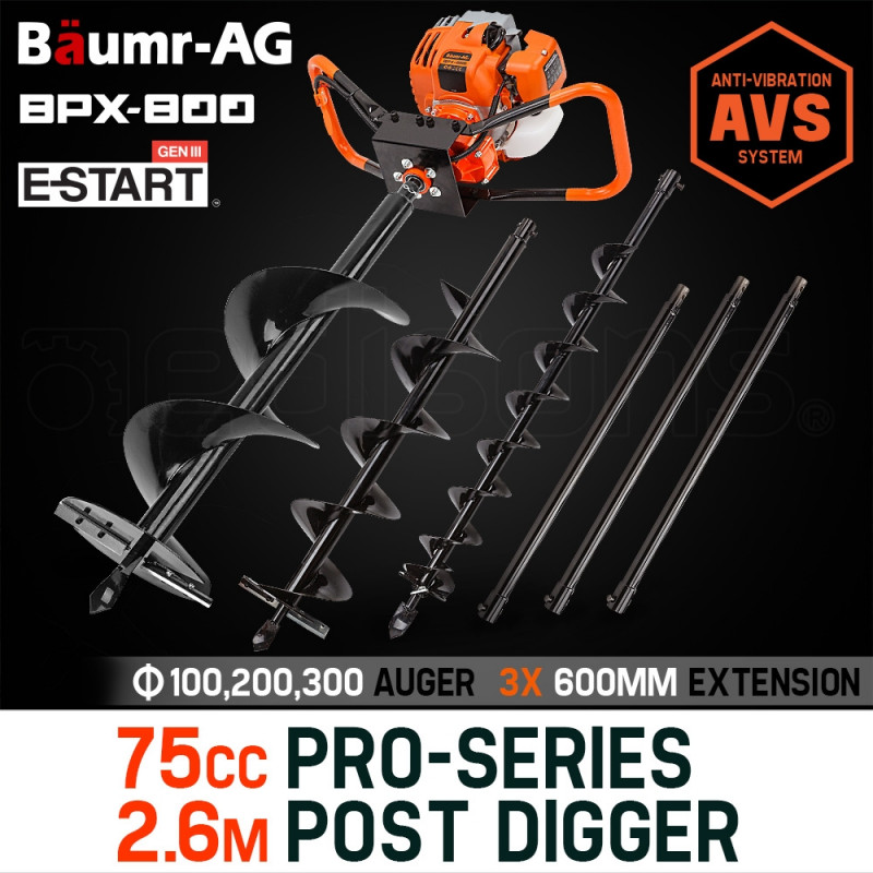 Baumr-AG Post Hole Digger 75CC Posthole Earth Auger Fence Borer Petrol Drill Bit by Baumr-AG