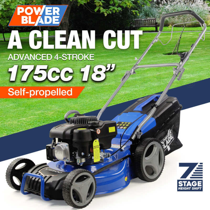 "POWERBLADE 18"" 175cc Self-Propelled 4-Stroke Petrol Steel Deck Lawn Mower VS500 by PowerBlade"