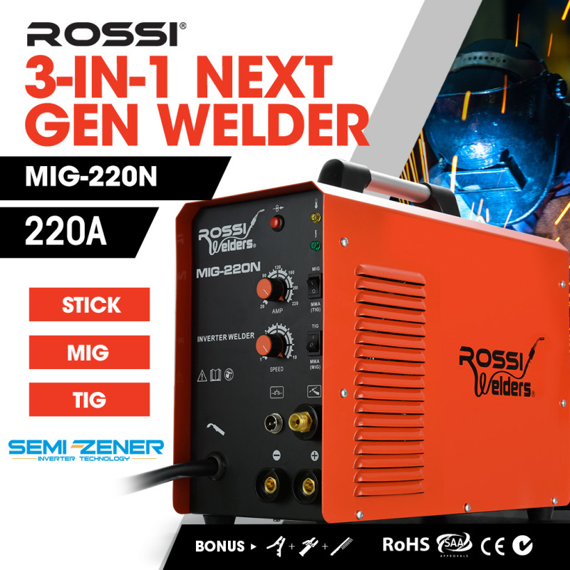 ROSSI 220 Amp 4-in-1 Multi-Process MIG TIG Stick Portable Inverter Gas Gasless Welder, with Accessories by Rossi