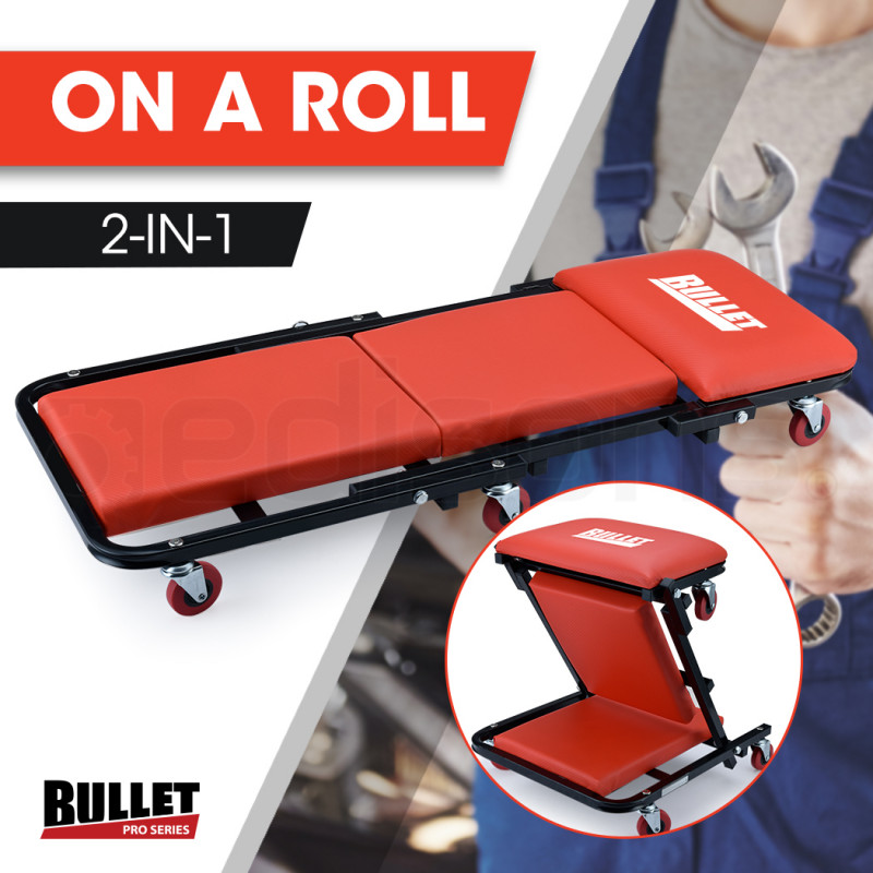 BULLET 2in1 Mechanics Folding Creeper Stool for Home Garage, Red by Bullet