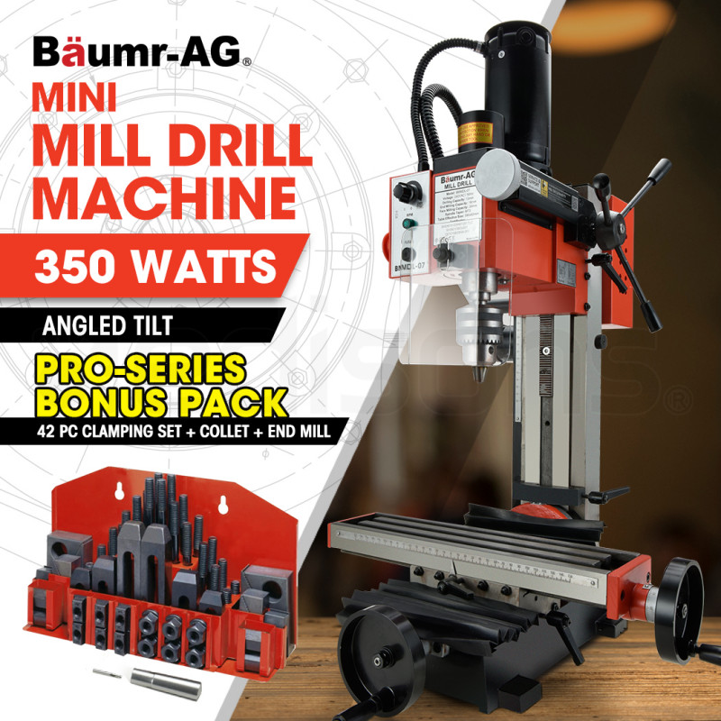 BAUMR-AG 350W Variable Speed Vertical Tilting Head Benchtop Mini Mill Drill Press, with Clamp Kit by Baumr-AG