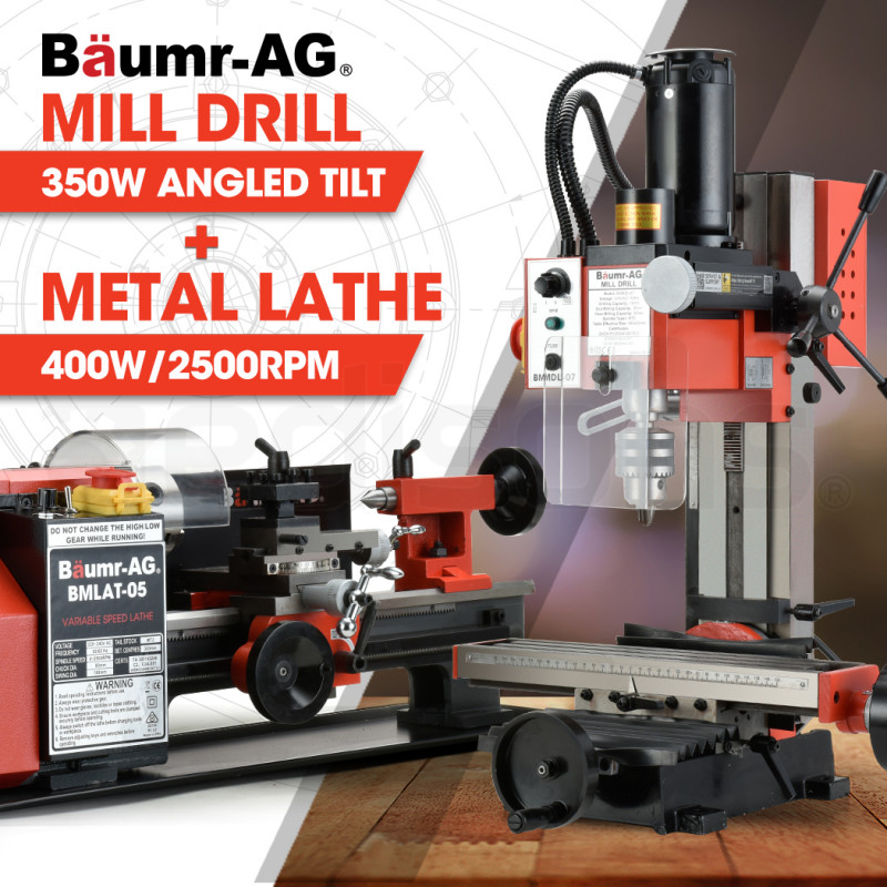 BAUMR-AG 400W Mini Metal Lathe and 350W Mill Drill Press Machine Combo by Baumr-AG