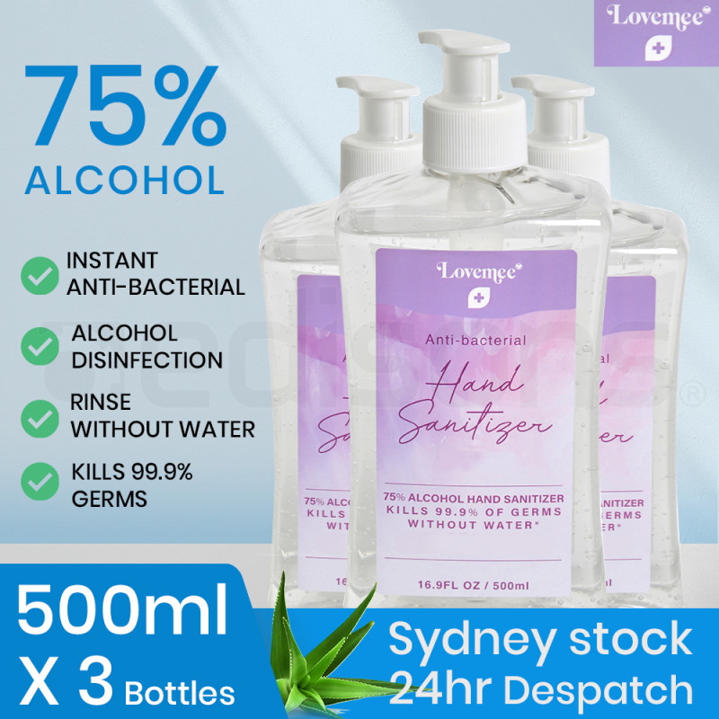 LOVEMEE 3 x 500ml Pump Bottles 75% Alcohol Anti-Bacterial Hand Sanitiser Gel with Aloe Vera by Lovemee