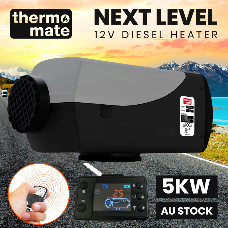 THERMOMATE 12V 5kW Diesel Air Heater for Caravan Camper Trailer Van Motorhome RV, Grey by Thermomate