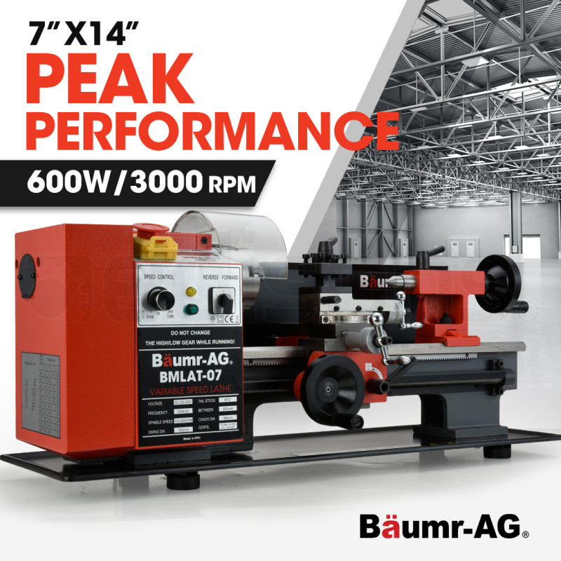 """BAUMR-AG 600W 7""""x14"""" Variable-Speed Mini Metal Lathe with LCD Screen by Baumr-AG"""
