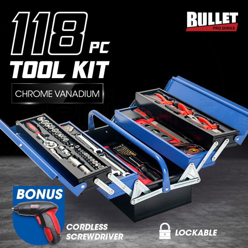 BULLET 118pc Metal Cantilever Tool Kit Box Set with Cordless Screwdriver, Blue & Black by Bullet Pro