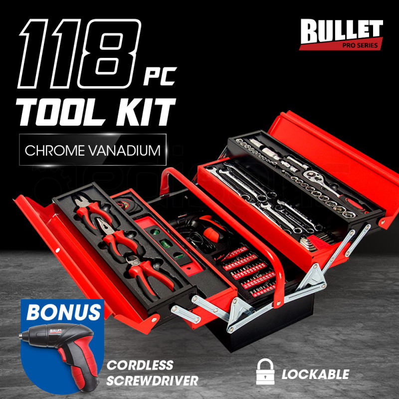 BULLET 118pc Metal Cantilever Tool Kit Box Set with Cordless Screwdriver, Black & Red by Bullet Pro