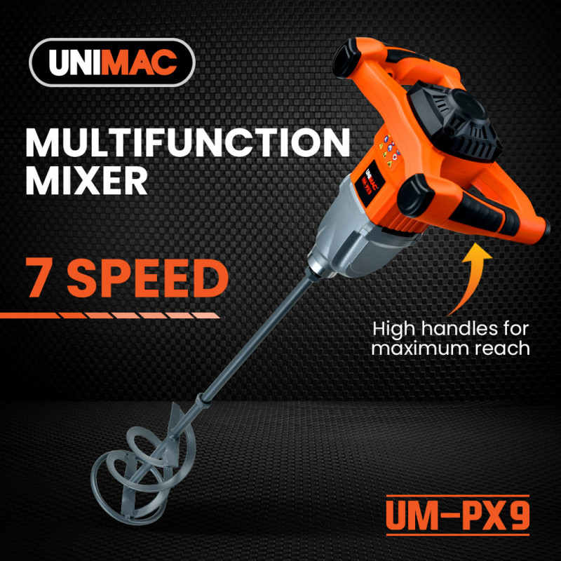 UNIMAC UM-PX9 Power Paddle Stirrer Mixer, Dual Gear, 7 Speed, for Plaster Cement Render Paint Tile Adhesive by Unimac