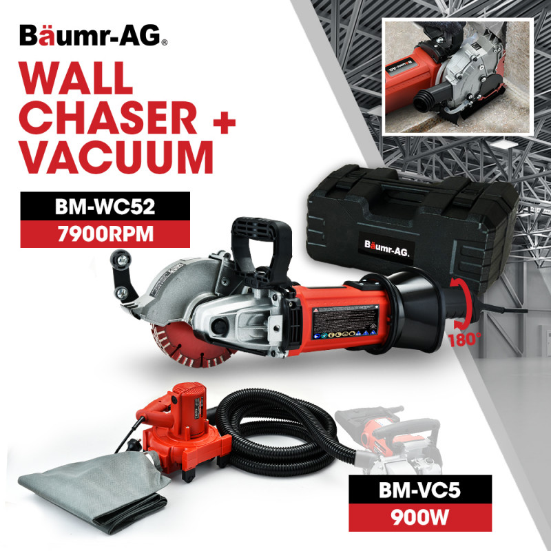 BAUMR-AG 1700W 125mm Wall Chaser and 900W Vacuum Dust Collector Combo, with 4 Diamond Blades by Baumr-AG