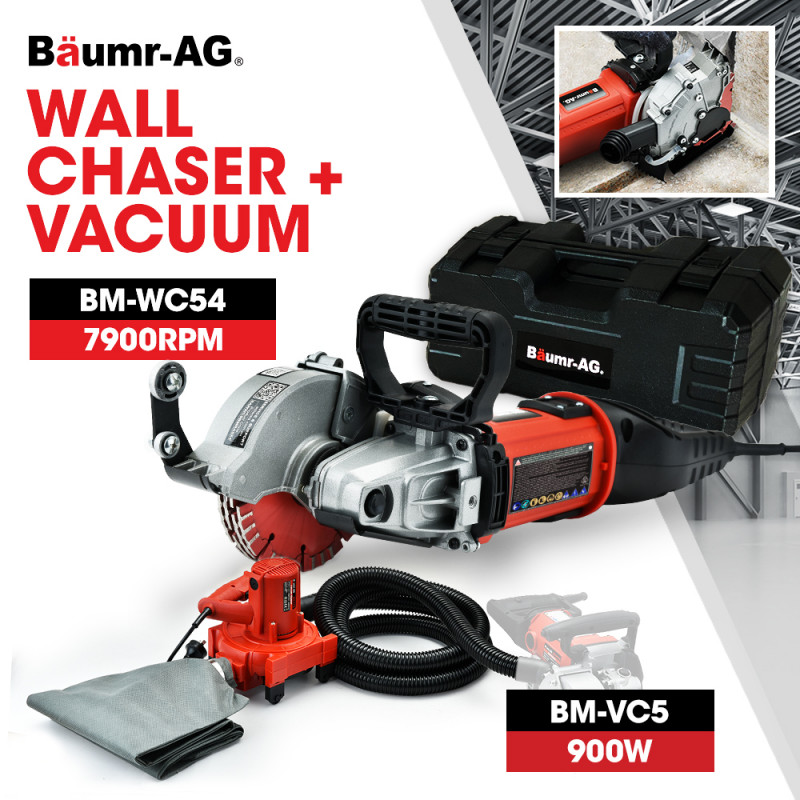 BAUMR-AG Wall Chaser and Vacuum Combo Concrete Dust Collector Chasing Machine by Baumr-AG
