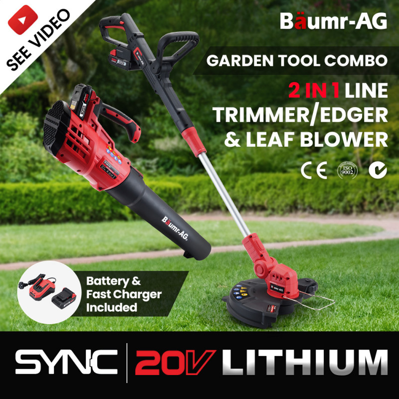 BAUMR-AG Whipper Snipper and Leaf Blower Combo Kit, with 20V SYNC Battery and Charger  by Baumr-AG
