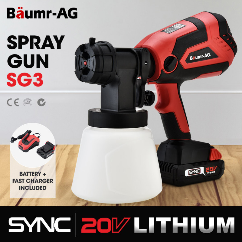 BAUMR-AG SG3 20V SYNC Cordless Paint Sprayer Gun Kit with Battery and Fast Charger by Baumr-AG