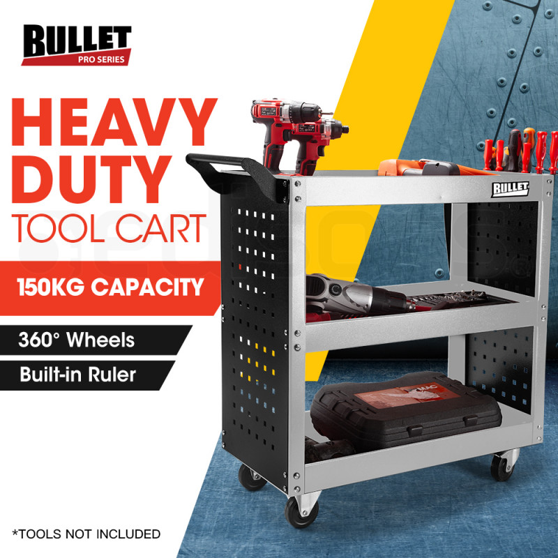 BULLET 3-Tier Steel Tool Trolley Cart Workshop, with Pegboard, Screwdriver Bay, Ruler, Black and Silver by Bullet