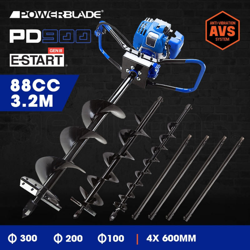 POWERBLADE Post Hole Digger 88CC Posthole Earth Auger Fence Borer Petrol Drill by PowerBlade