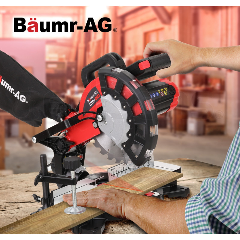 BAUMR-AG 210mm 1700W Compound Mitre Saw with Laser Guide - CM-210 by Baumr-AG