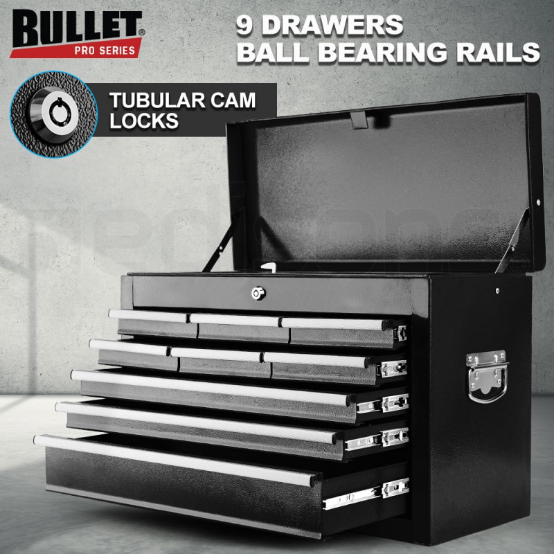 BULLET 9 Drawer Tool Box Chest Mechanic Garage Storage Toolbox Set Organiser by Bullet Pro