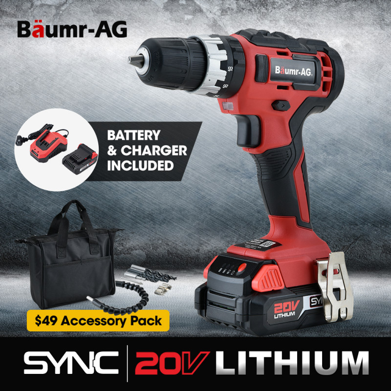 BAUMR-AG 20V SYNC Cordless Lithium Power Drill Kit, with Battery, Charger, Hammer Drill Function, Accessory Kit by Baumr-AG